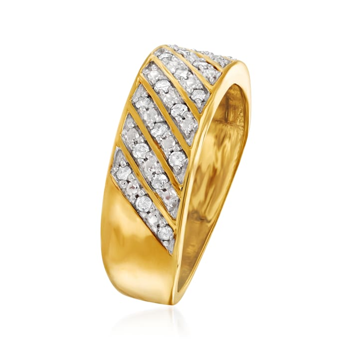 .25 ct. t.w. Diamond Diagonal-Row Ring in 18kt Gold Over Sterling