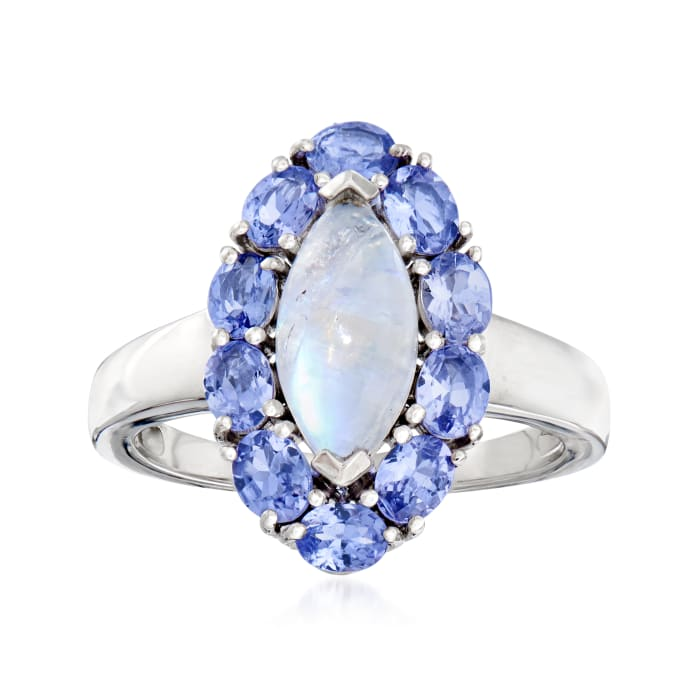 Moonstone and 1.60 ct. t.w. Tanzanite Ring in Sterling Silver