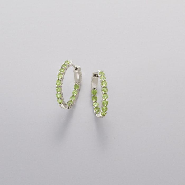 2.90 ct. t.w. Peridot Inside-Outside Hoop Earrings in Sterling Silver