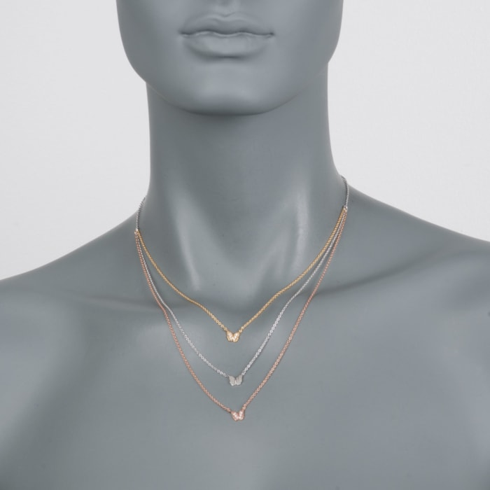 .12 ct. t.w. CZ Layered Butterfly Necklace in Tri-Colored Sterling Silver
