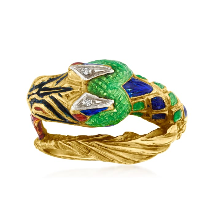 C. 1970 Vintage Multicolored Enamel Dragon Ring with Diamond Accents in 18kt Yellow Gold
