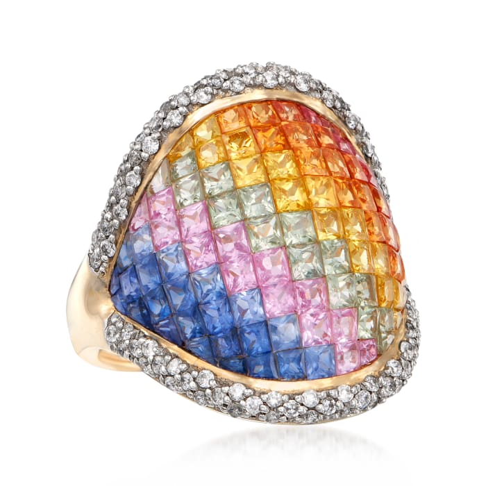 3.20 ct. t.w. Rainbow Sapphire and .43 ct. t.w. Diamond Ring in 14kt Yellow Gold