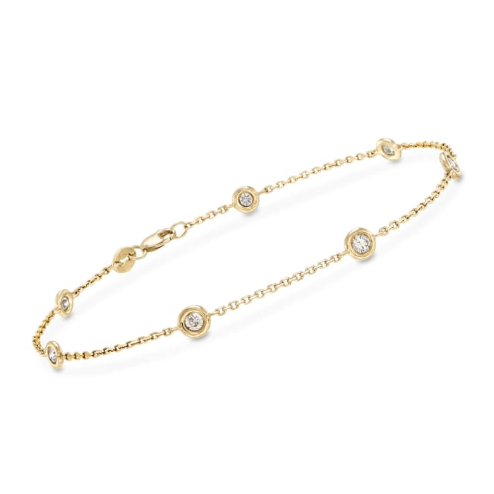 .50 ct. t.w. Diamond Station Bracelet in 14kt Yellow Gold