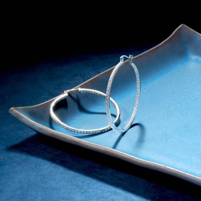 2.00 ct. t.w. CZ Inside-Outside Large Hoop Earrings in Sterling Silver