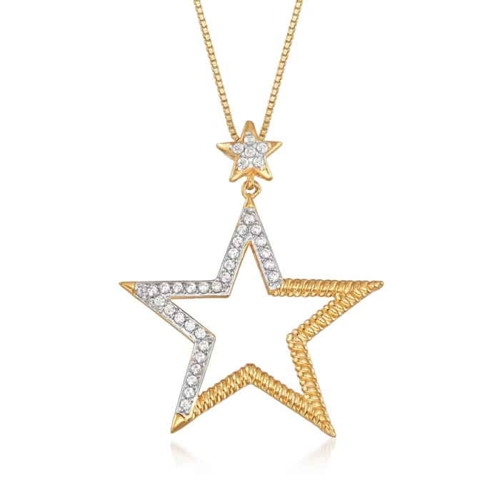.25 ct. t.w. Diamond Star Pendant Necklace in 18kt Gold Over Sterling