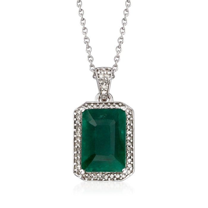 4.40 Carat Emerald and .24 ct. t.w. Diamond Pendant Necklace in Sterling Silver