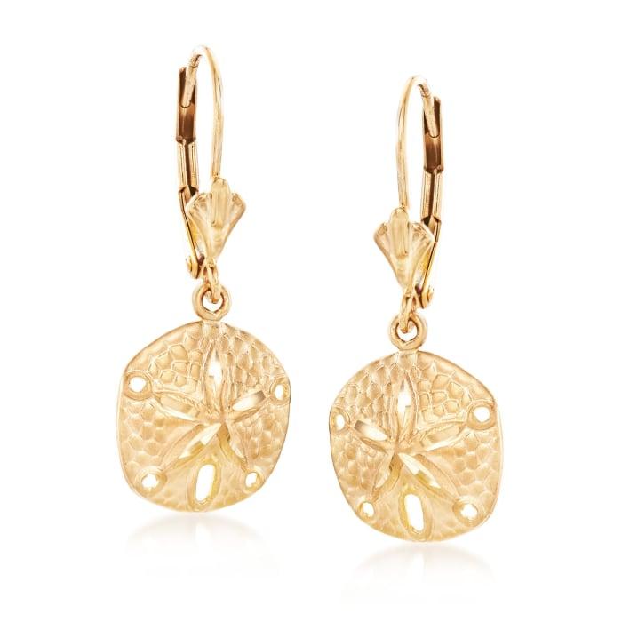 14kt Yellow Gold Sand Dollar Drop Earrings