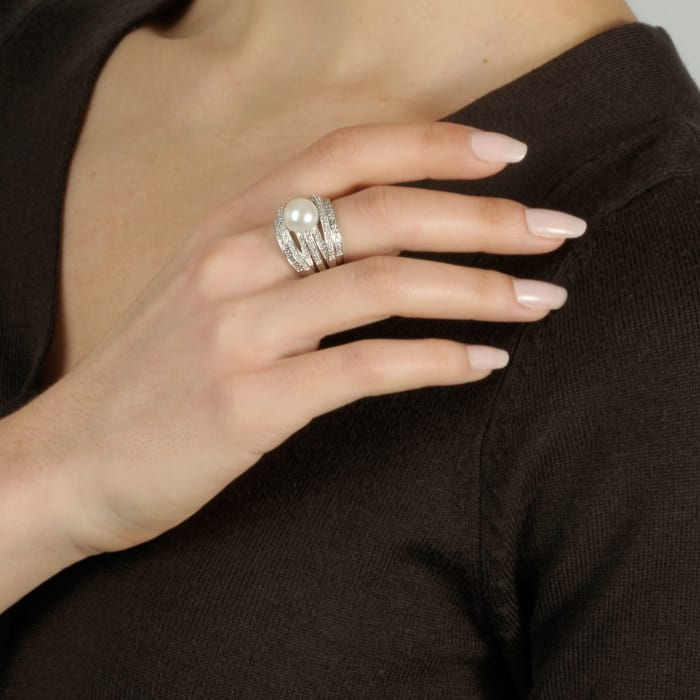 9mm Cultured Pearl and .20 ct. t.w. Diamond Highway Ring in Sterling Silver