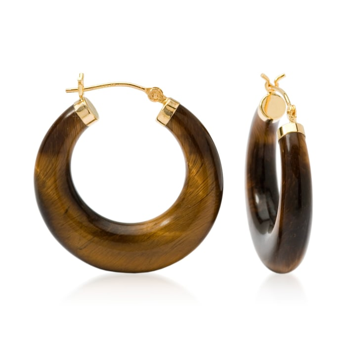 Tiger's Eye Hoop Earrings in 14kt Yellow Gold