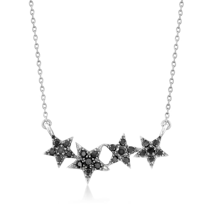 .72 ct. t.w. Black Spinel Multi-Star Necklace in Sterling Silver