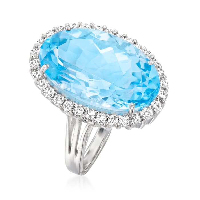 14.00 Carat Swiss Blue Topaz and .95 ct. t.w. White Topaz Ring in Sterling Silver