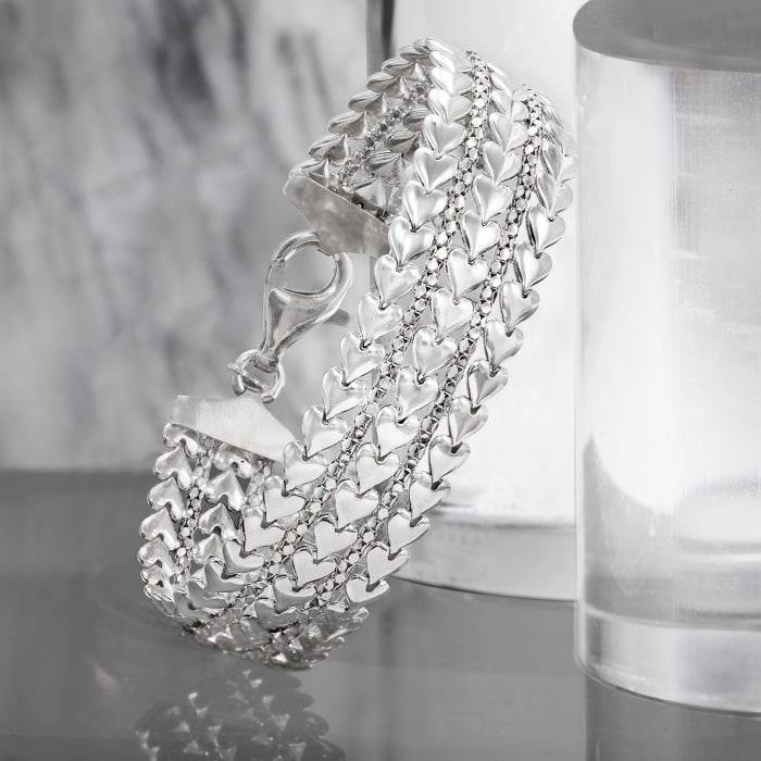 Italian Sterling Silver Multi-Row Heart Bracelet