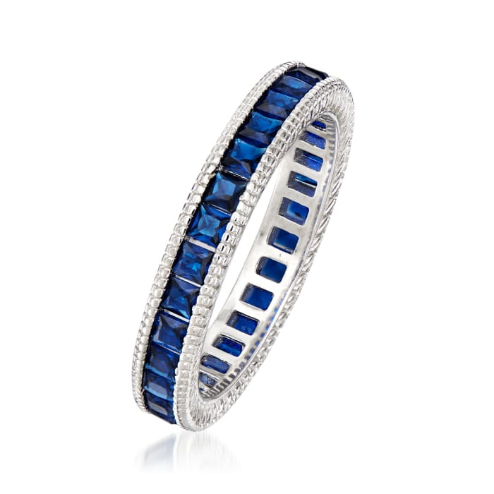 1.40 ct. t.w. Simulated Sapphire Eternity Band in Sterling Silver