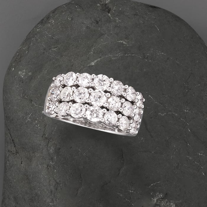 3.00 ct. t.w. Diamond Three-Row Ring in 14kt White Gold