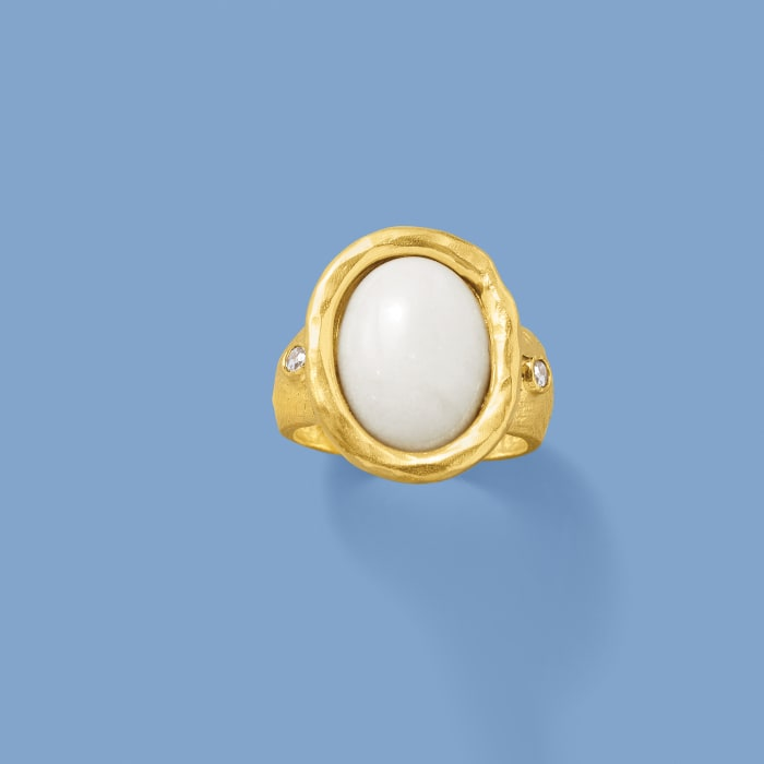 White Agate and .15 ct. t.w. White Topaz Ring in 18kt Gold Over Sterling