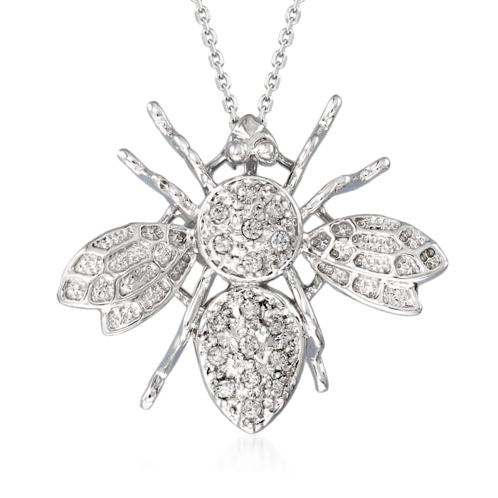 C. 1990 Vintage .20 ct. t.w. Diamond Bee Pendant Necklace in 14kt White Gold