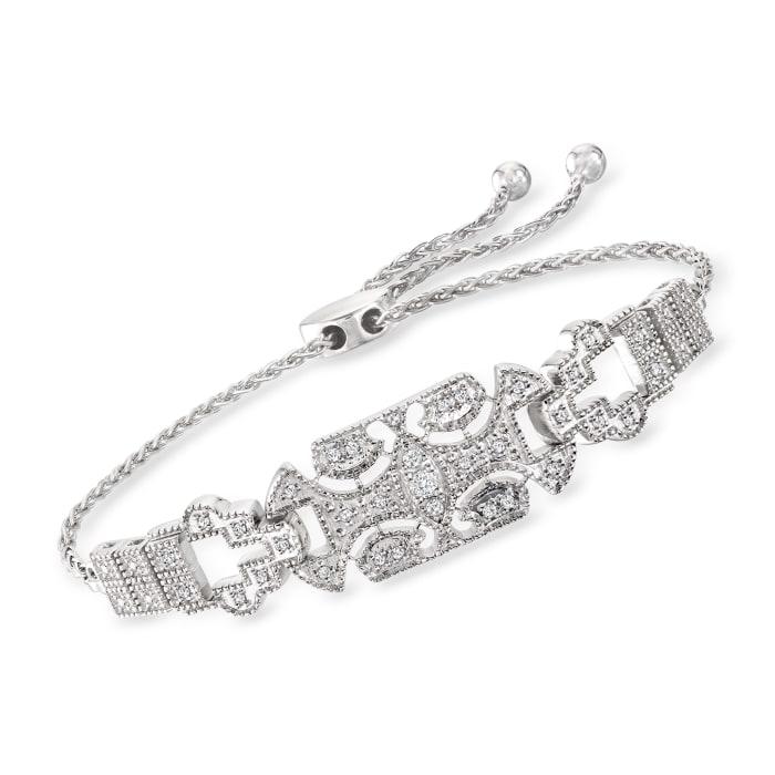 .25 ct. t.w. Diamond Art Deco-Style Bolo Bracelet in Sterling Silver