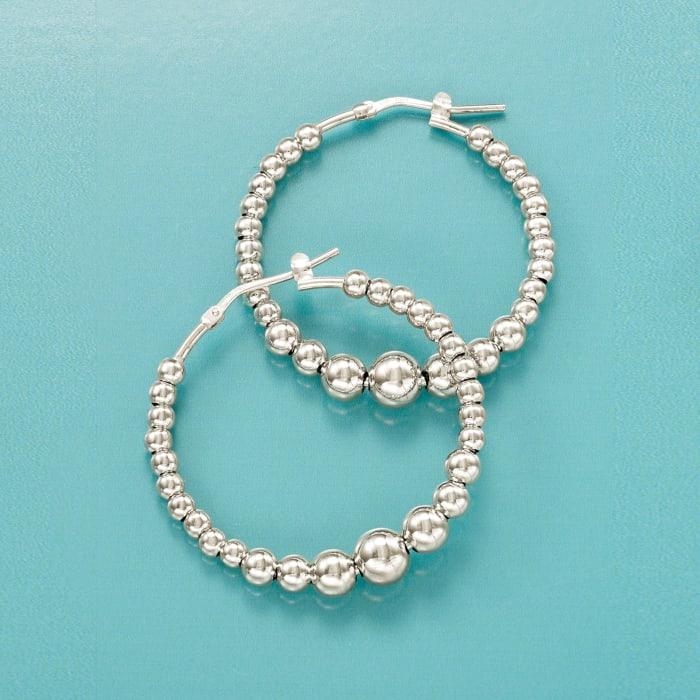 Italian Sterling Silver Beaded Hoop Earrings