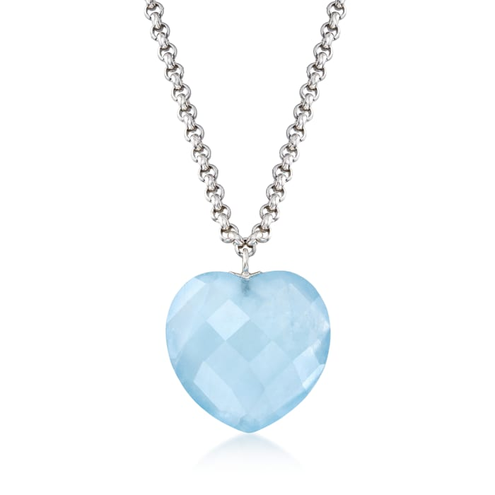 20.00 Carat Milky Aquamarine Heart Necklace in Sterling Silver