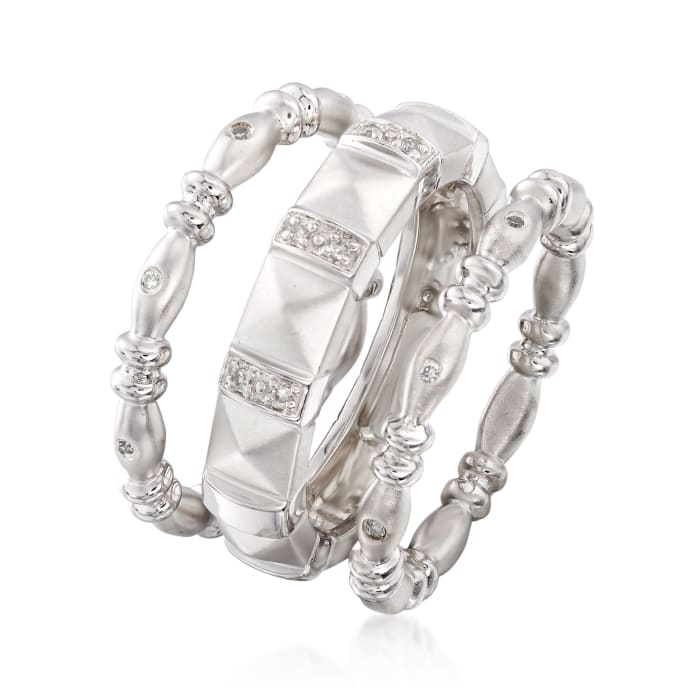 .10 ct. t.w. Diamond Jewelry Set: Three Stackable Rings in Sterling Silver