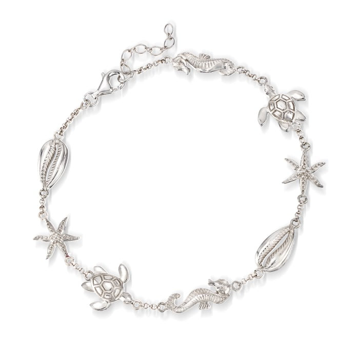 Sterling Silver Sea Life Anklet