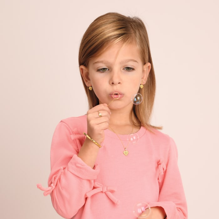 Child's 14kt Yellow Gold Heart Drop Earrings