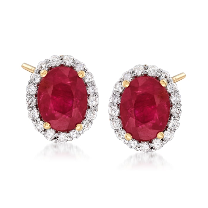 3.20 ct. t.w. Burmese Ruby and .51 ct. t.w. Diamond Earrings in 18kt Yellow Gold