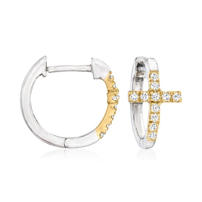 .15 ct. t.w. Diamond Cross Huggie Hoop Earrings in Sterling Silver and 14kt Yellow Gold