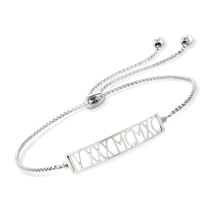 Sterling Silver Roman Numeral Date Bolo Bracelet