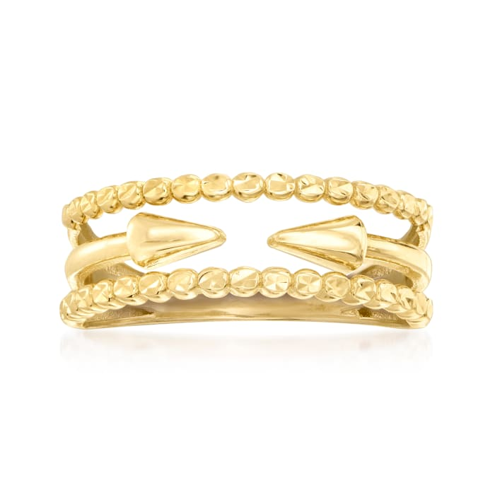 14kt Yellow Gold Multi-Row Arrow Ring