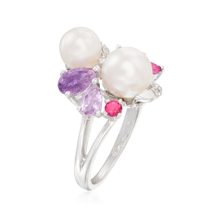 6.5-8mm Cultured Pearl and 1.19 ct. t.w. Multi-Gemstone Ring in Sterling Silver