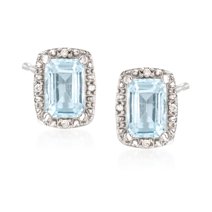 1.00 ct. t.w. Aquamarine Stud Earrings with Diamond Accents in Sterling Silver