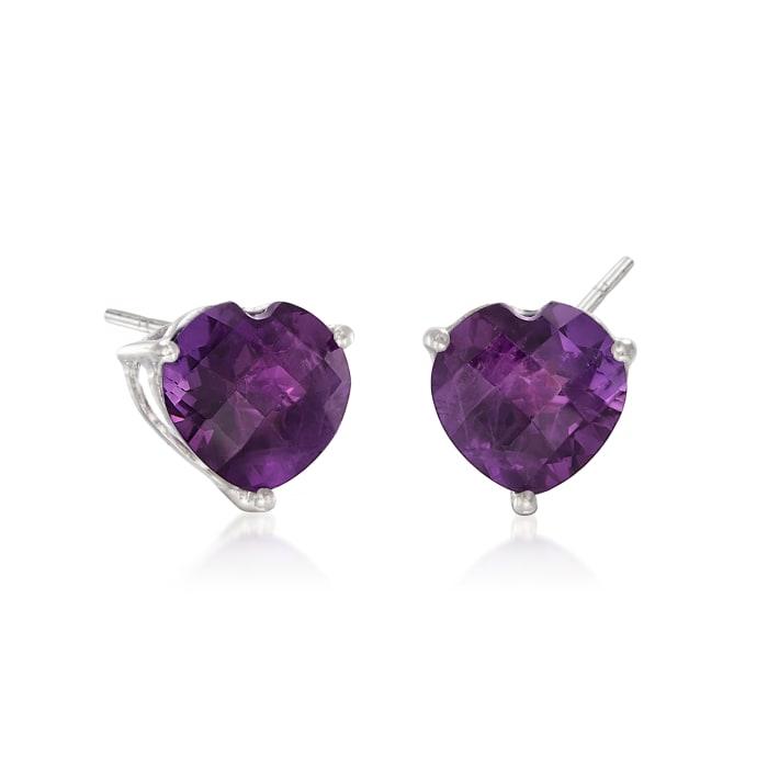 5.50 ct. t.w. Amethyst Heart Stud Earrings in Sterling Silver