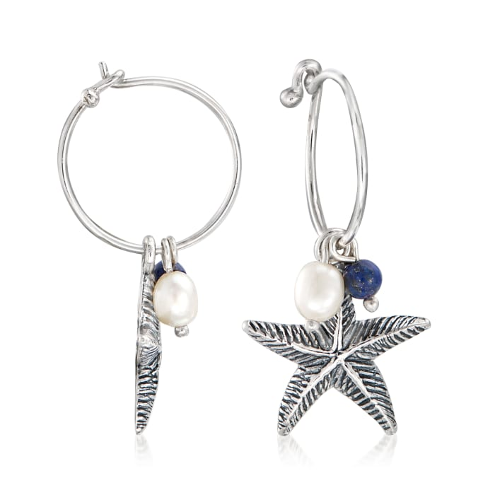Cultured Pearl and Lapis Starfish Hoop Drop Earrings in Sterling Silver