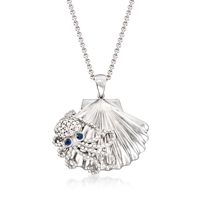 .10 ct. t.w. Sapphire Octopus and Seashell Pendant Necklace in Sterling Silver