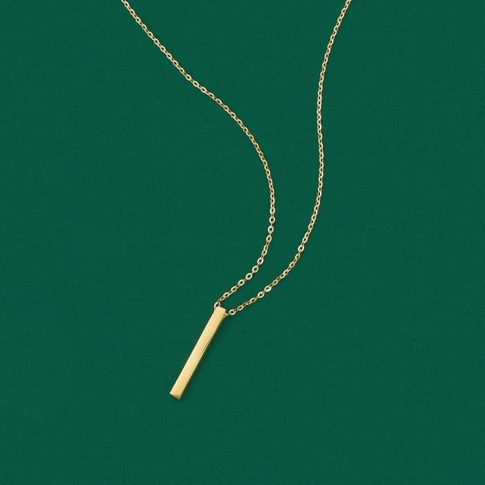 18kt Yellow Gold Vertical Bar Necklace