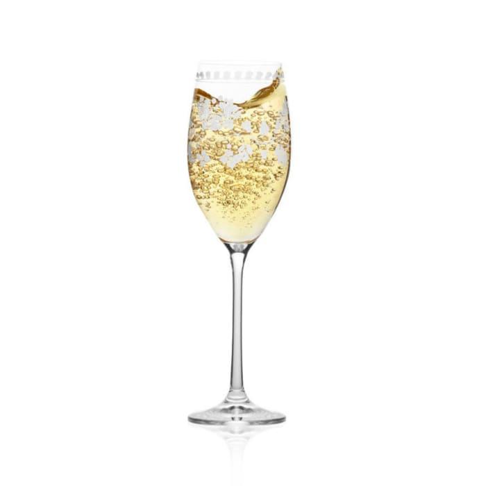 """Mikasa """"Vintage Floral"""" Set of 4 Champagne Flutes"""