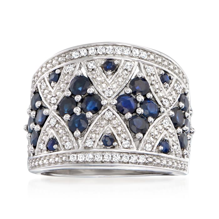 1.50 ct. t.w. Sapphire and .21 ct. t.w. Diamond Wide Ring in Sterling Silver