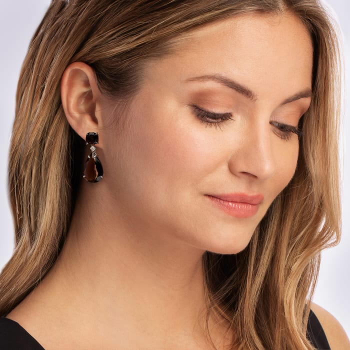 Smoky Quartz Teardrop Earrings with Diamond Accents in Sterling Silver