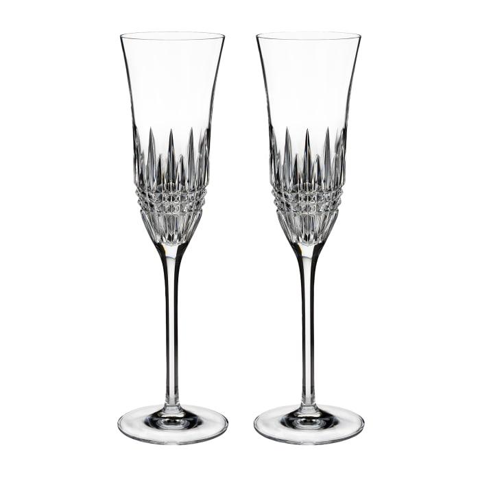 """Waterford Crystal """"Diamond Essence"""" Set of 2 Lismore Toasting Flute Glasses"""