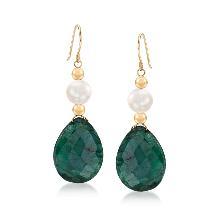 Cultured Pearl and 20.00 ct. t.w. Emerald Drop Earrings in 14kt Yellow Gold