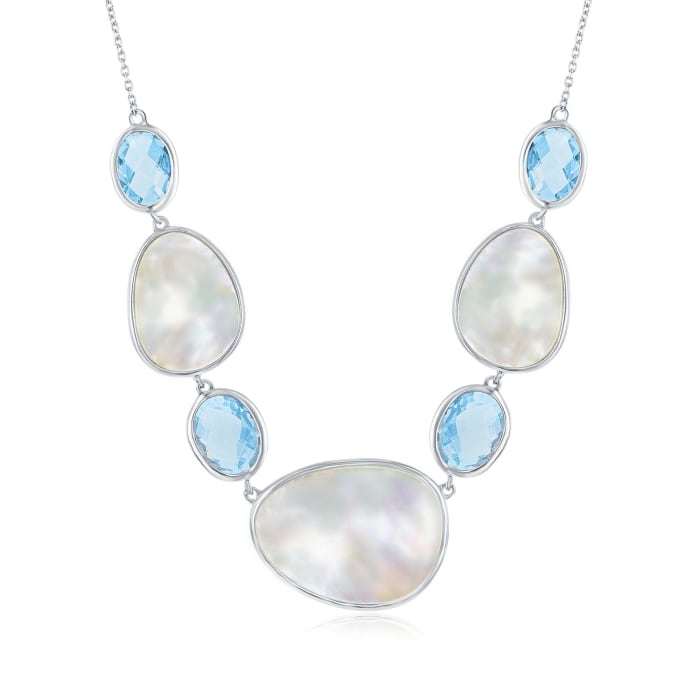 Mother-Of-Pearl and 12.00 ct. t.w. Blue Topaz Necklace in Sterling Silver