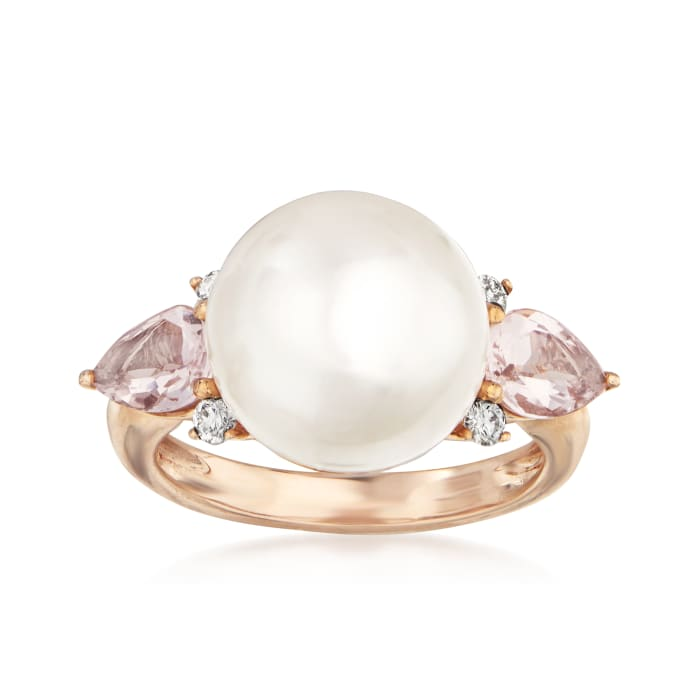 Cultured South Sea Pearl, 1.10 ct. t.w. Morganite and .14 ct. t.w. Diamond Ring in 14kt Rose Gold