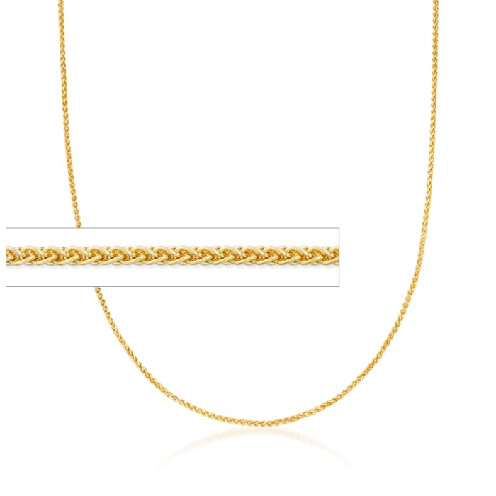 1.2mm 14kt Yellow Gold Wheat Chain Necklace