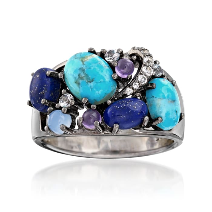 Turquoise, Lapis and .20 ct. t.w. Multi-Gem Ring in Sterling Silver