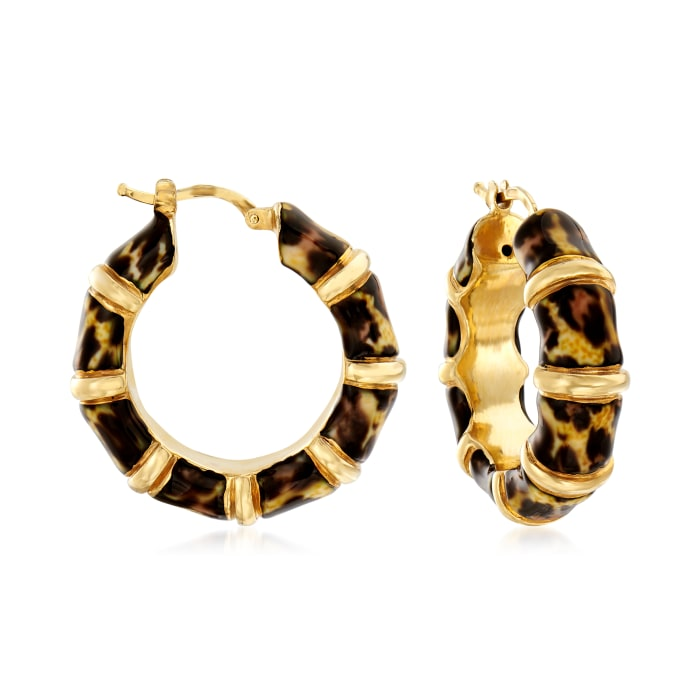 Italian Leopard-Print Enamel Bamboo-Style Hoop Earrings in 18kt Gold Over Sterling