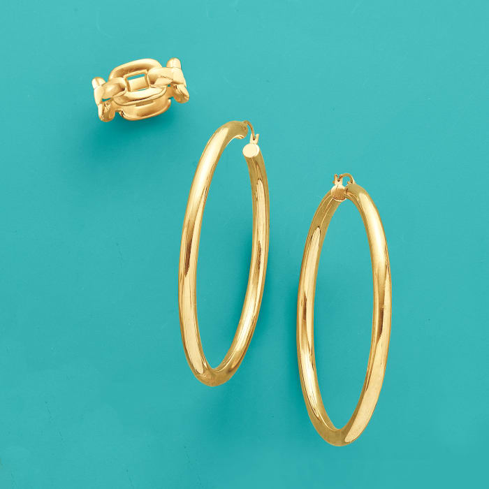 Andiamo 14kt Yellow Gold Over Resin Large Hoop Earrings
