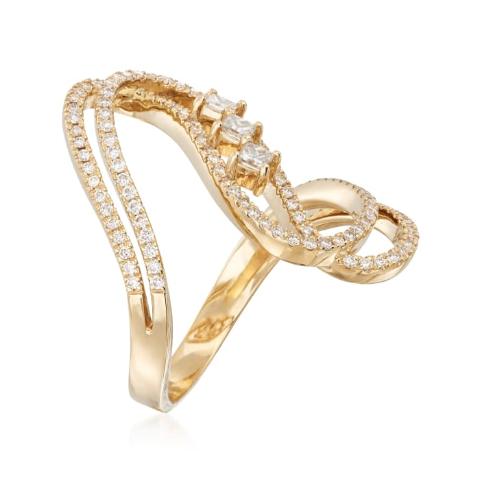.80 ct. t.w. Diamond Wave Ring in 14kt Yellow Gold