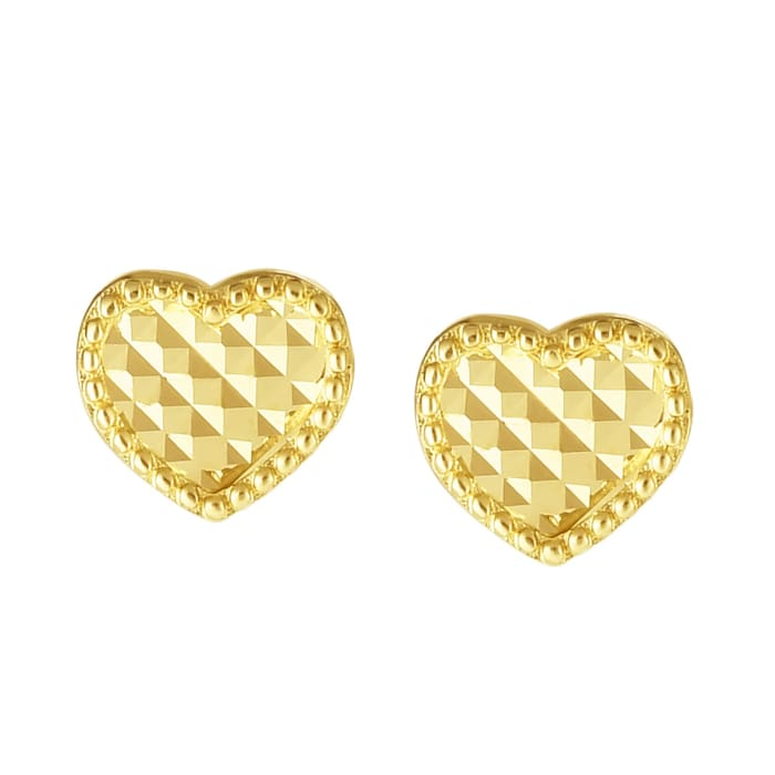 14kt Yellow Gold Checkered and Beaded Heart Earrings