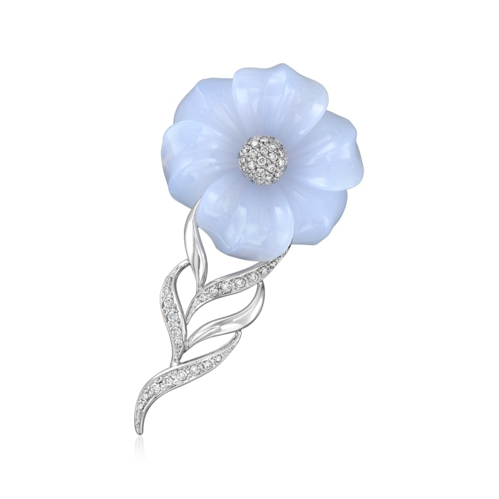 C. 1990 Vintage Blue Chalcedony and .68 ct. t.w. Diamond Flower Pin Pendant in 14kt White Gold